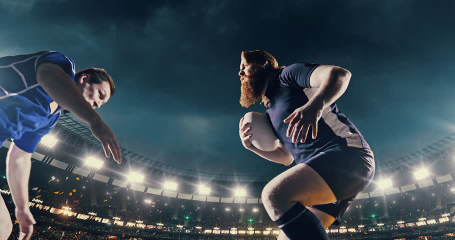 Rugby player is blocked by the opposite team player.  He wears unbranded sport clothes. The background is made in 3D.
