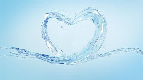 Water Splash Flow of Liquid Shape Crystal Clean Nature Shape of Heart, Wave splashes, Valentines day, Health Day, 3d slow motion animation, Alpha channel mask and isolated color key mask for elements