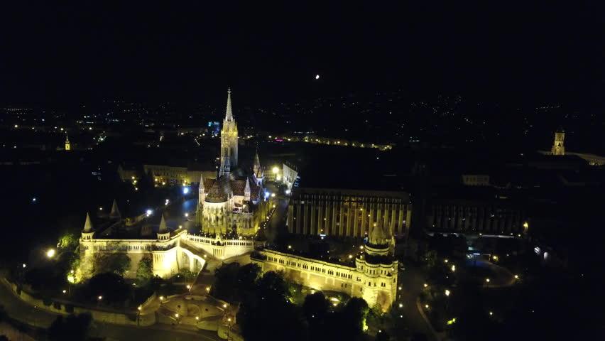 Budapest Matthias Church Panning Shot At Night Aerial View Budapest Hungary | Shutterstock HD Video #29505082