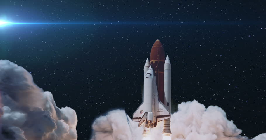 Space Shuttle Launch to Space with Stars and Blue Flare, 4K some elements furnished by NASA images | Shutterstock HD Video #29506414