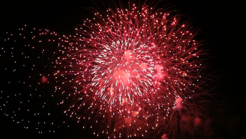 Colorful Firework lights streaks in the night sky in Full HD 1080p