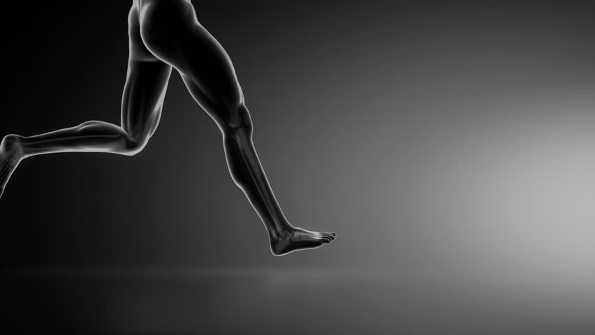 Running man with ankle joint detail lateral view