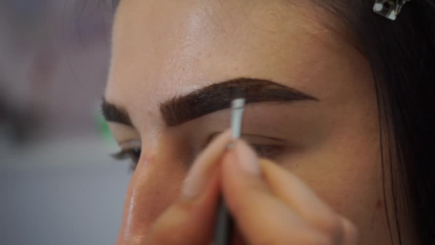 Professional Make Up Artist Drawing Eyebrows Stock Footage Video
