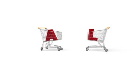 Animated shopping carts forming sale sign