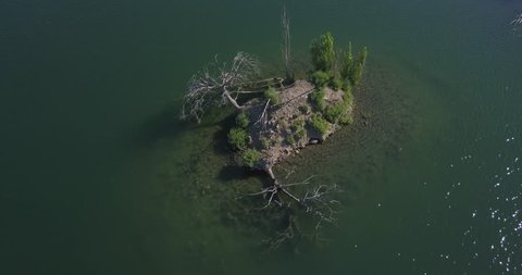 Ariel shot of circling a small island with blue green water. island in Los Gatos creek park in san Santa Clara California. small island with dead trees on it. island with trees in water around it.