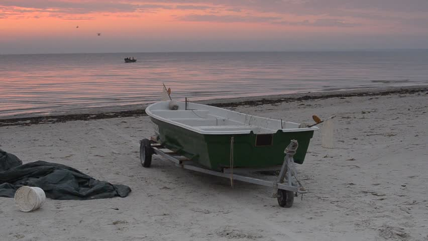 Working life at the early morning, village of fishermen, Baltic Sea, Latvia, Europe