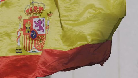 Spanish state flag rojigualda fluttering, national symbol of country, patriotism