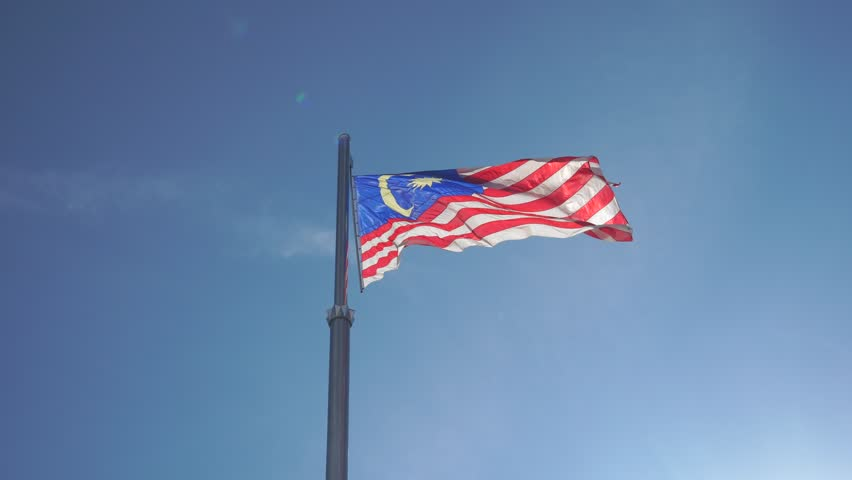 video waving flag of Malaysia