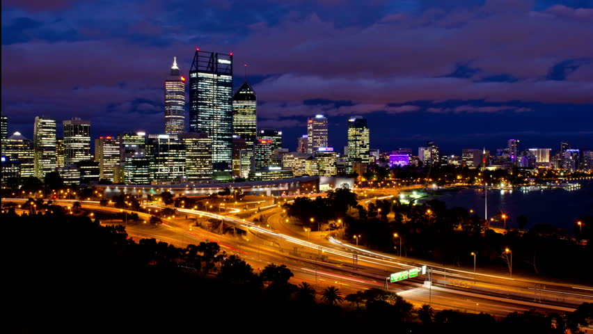Timelapse of Perth City, Australia, as seen from King's Park, from late dusk to