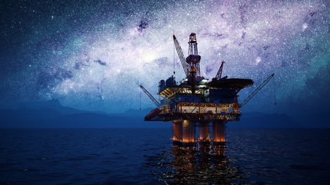 02871 View of an Oil rig at night. Milky way shines above.