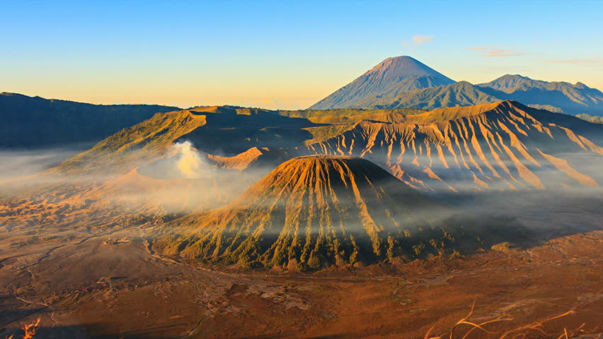 Bromo Volcano Sunrise Landmark Nature Travel Place Of Indonesia 4K Time Lapse (pan shot)