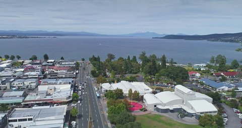 AERIAL: flying over Taupo city and lake in the center of the North Island, New Zealand