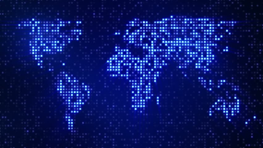 Technology map with continents and lights loop hd 1080p stock footage video 3256546 shutterstock - Digital world hd ...