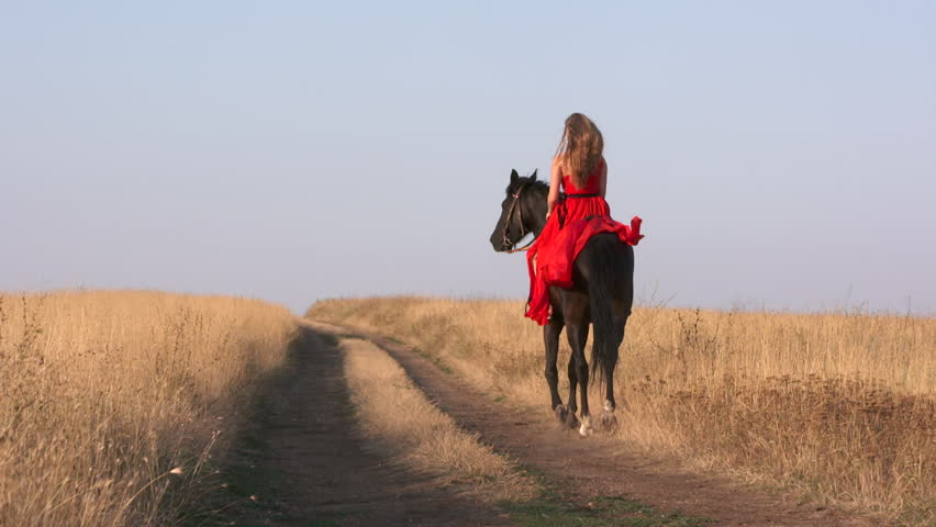 Young Blonde Girl In Long Scarlet Red Gown Riding Black Horse Beautiful Female Rider -9245