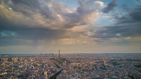paris city famous eiffel tower sunrise aerial cityscape panorama 4k time lapse france
