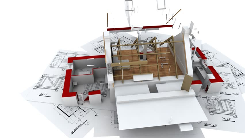 3D Animation Showing A Home Construction Process, From The Blueprints To  The Roofing Installation.