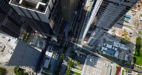 Aerial drone footage of the skyscrapers in Downtown Singapore. The Downtown Core is the historical and downtown epicenter of the city-state of Singapore.