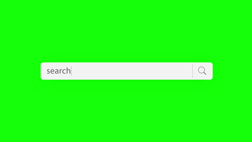 search text - search query, Internet web page with search bar and blinking cursor on green background