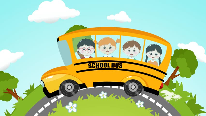 School Bus With Pupils Animation Stock Footage Video 100