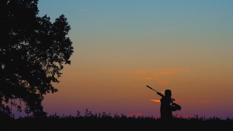 silhouette of a hunter with a gun in the field