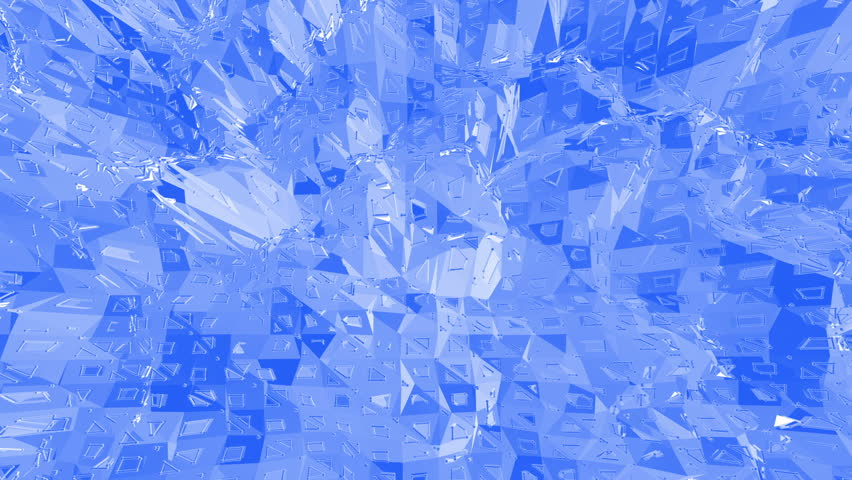 Blue low poly plastic surface as fashion environment. Blue polygonal geometric plastic environment or pulsating background in cartoon low poly popular modern stylish 3D design..