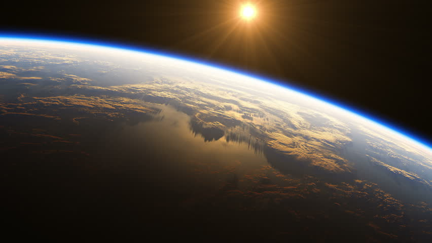 4K. Amazing Sunrise Over The Earth. View Of Planet Earth From Space. 3840x2160. Realistic 3d Animation. Ultra High Definition. (You Can Speed Up This Animation For Your Projects).