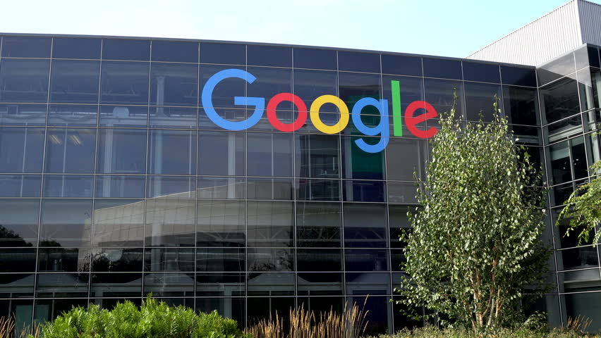 MOUNTAIN VIEW, CA/USA - JULY 30, 2017: Google corporate headquarters and logo. Google is an American multinational technology company that specializes in Internet-related services and products.