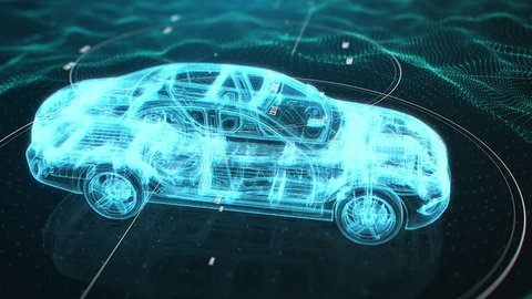 Holographic animation of 3D wireframe car model rotating in black virtual space