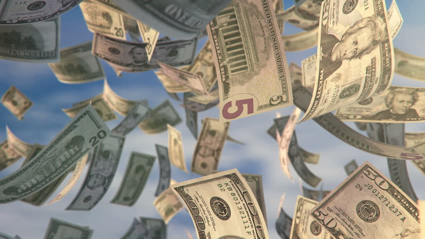 Digitally animated background with dollar bills falling down in slow motion