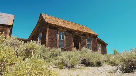 Bodie ghost town video, an abandoned countryside, decay gold wild west house, Bodie State Historic Park, California USA