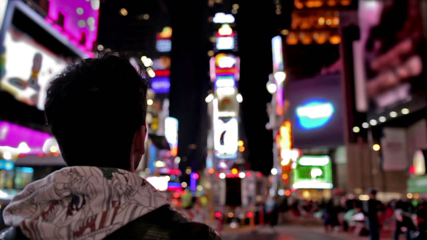 ... Male Tourist In Times Square Takes Smartphone Picture   Manhattan New  York City NYC USA ...