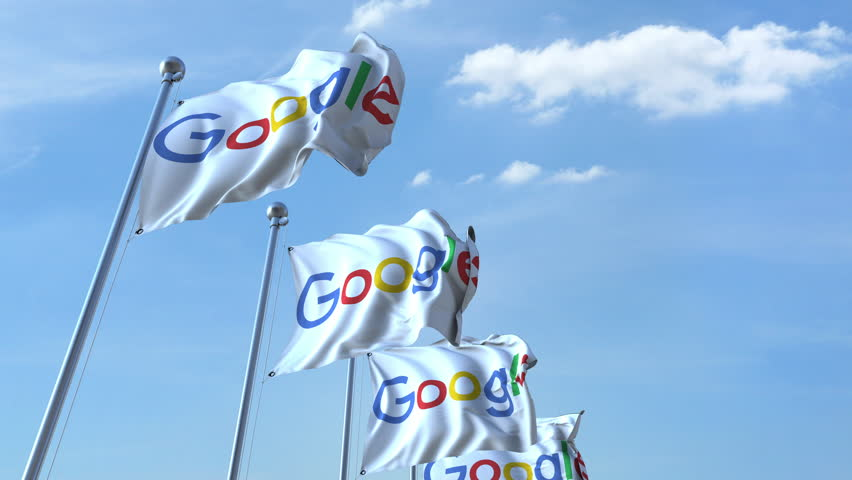 Waving flags with Google logo against sky, seamless loop. 4K editorial animation