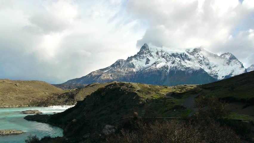 Camera pans to Salto Grande in Torres del Paine national park