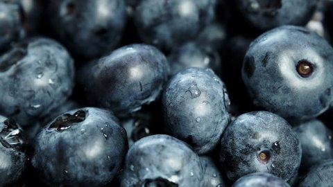 Closeup blackberry fruits blueberries as food background. Concept for healthy eating and nutrition 4K ProRes HQ codec
