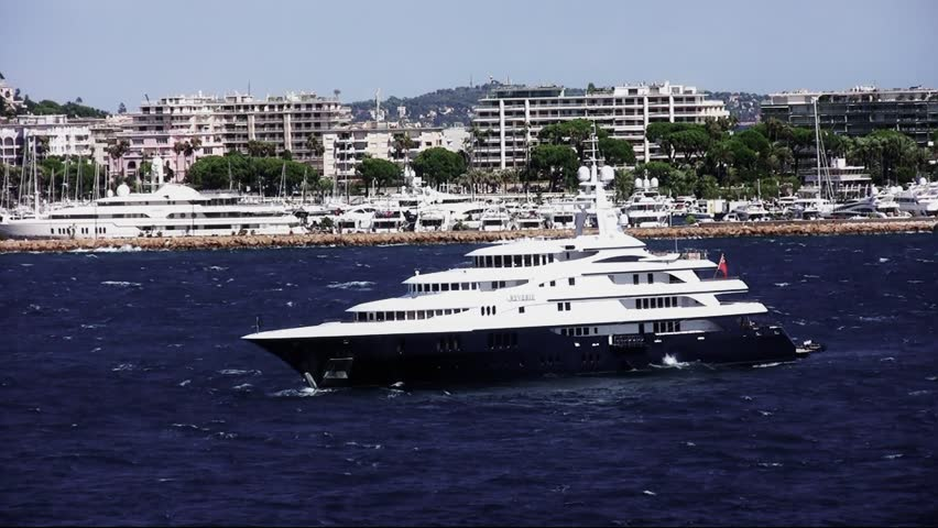 Luxury private yacht anchored in Cannes bay; France.