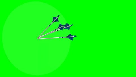 bow arrows fly on the target - bow arrows hit the target - green screen