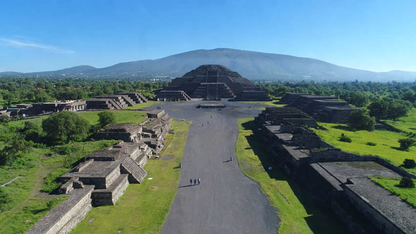 Aerial view of pyramids in ancient mesoamerican city of Teotihuacan, Pyramid of the Moon, Valley of Mexico from above, Central America, 4k UHD  | Shutterstock HD Video #29989672