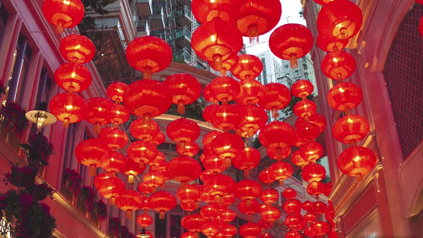 Chinese new year red paper latern decoration in Hong Kong city.   Shutterstock HD Video #30030982