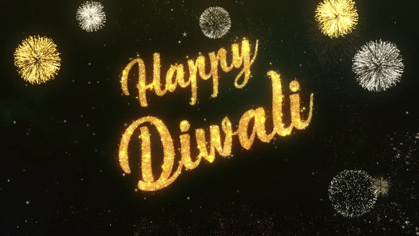 Happy dipawali Greeting Text Made from Sparklers Light Dark Night Sky With Colorfull Firework.