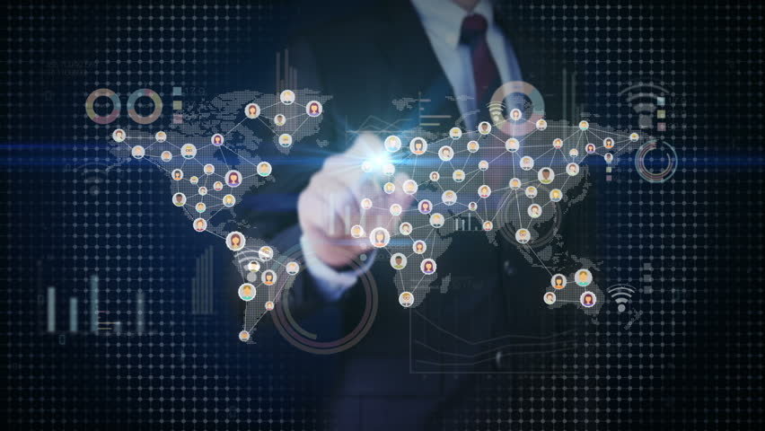 Businessman touching connected world people, using communication technology. with economic diagram,chart. social media. | Shutterstock HD Video #30097042