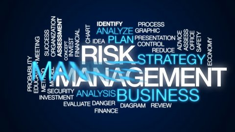 Risk management animated word cloud, text design animation.