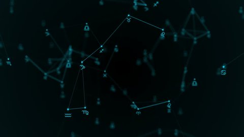 Beautiful plexus with zodiac signs, stars. Group of stars forming a constellation.