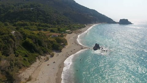 Potami beach of Samos island in Greece. Aerial view