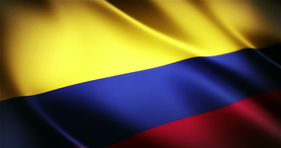 Colombia realistic national flag seamless looped waving animation