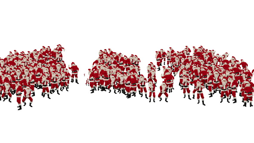 Santa Claus Crowd Dancing, Christmas Party 2013 Shape, against white
