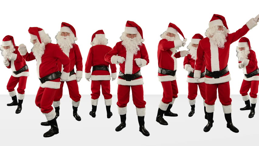Bunch of Santa Claus Dancing Against White, Christmas Holiday Background, Alpha