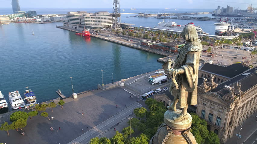 Aerial view of Columbus monument in Barcelona, summer day