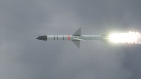 Launched Missile flying in the clouds. High Quality footage, ProRes codec, 25 FPS.