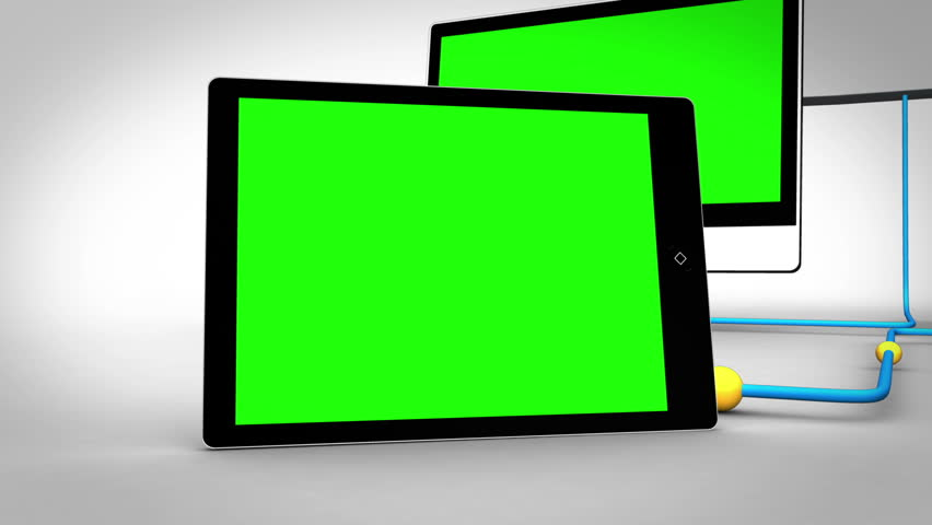 Animation with clouds connecting to multiple devices in chroma key #3019372