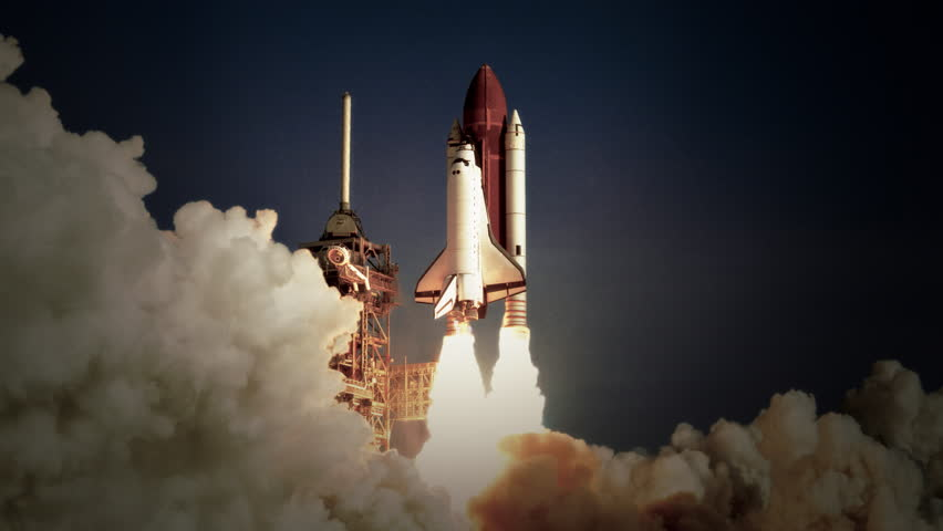 Space Shuttle launch in slow motion. (NASA logo removed) Elements furnished by NASA. Broadcast quality animation rendered at 16-bit color depth. 4K UHD. | Shutterstock HD Video #30194530
